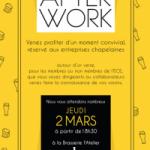 02 mars 2017 à 18H30 : Afterwork à la Brasserie L'Atelier